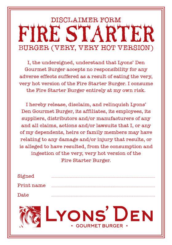 fire starter disclaimer